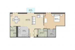 Merrick A 1 bedroom floorplan Eastmont Towers
