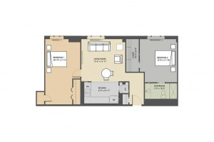 Merrick B 2 bedroom floorplan Eastmont Towers