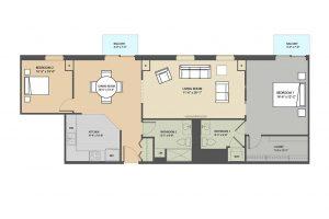 The Strathmore 2 bedroom floorplan Eastmont Towers