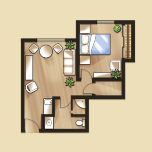 Senior living one bedroom apartment floor plans