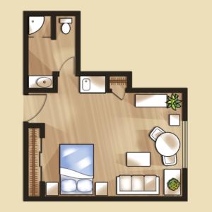 Senior living studio apartment floor plans