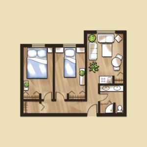 Senior living two bedroom apartment floor plans