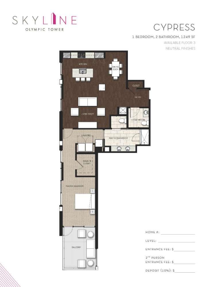 Olympic Tower Floor Plan - Cypress