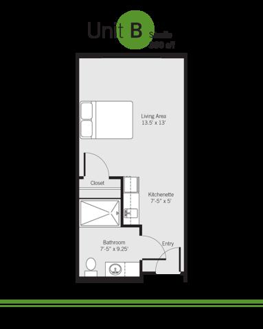 Vashon Community Care senior living floor plan - unit B