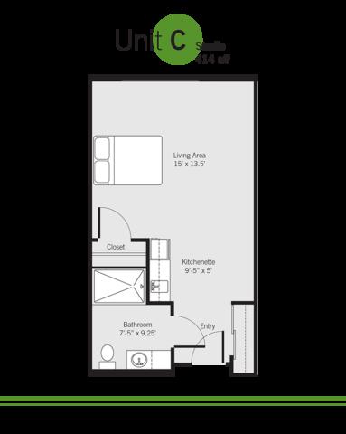 Vashon Community Care senior living facility floor plan - Unit C