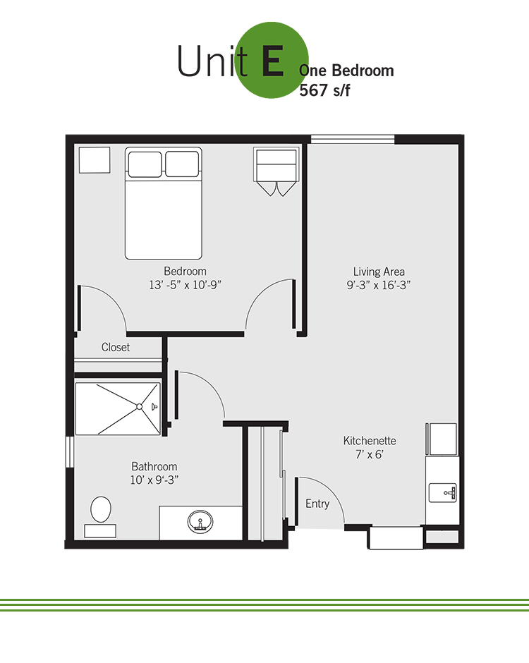 Vashon Community Care assisted living community floor plan - Unit E