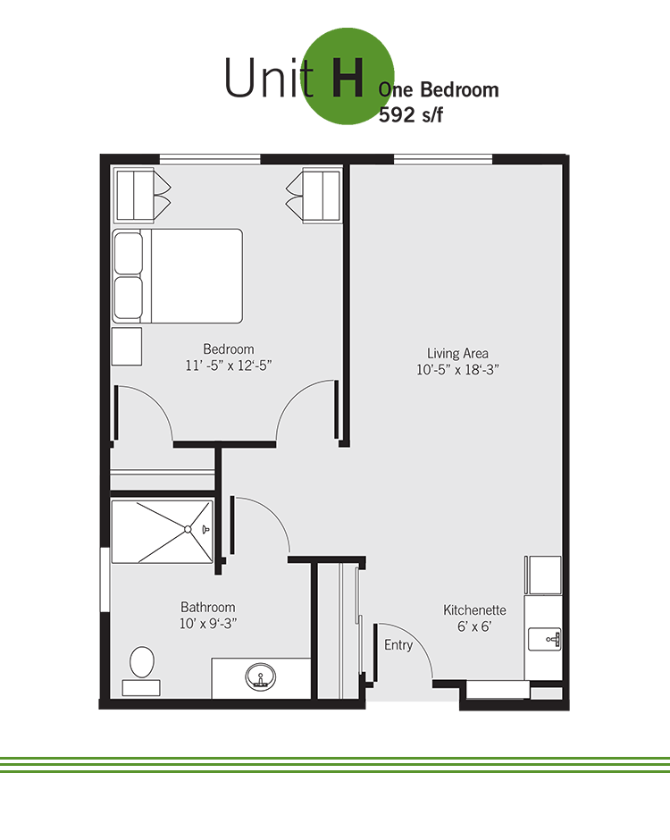 Vashon Community Care retirement community floor plan - Unit H