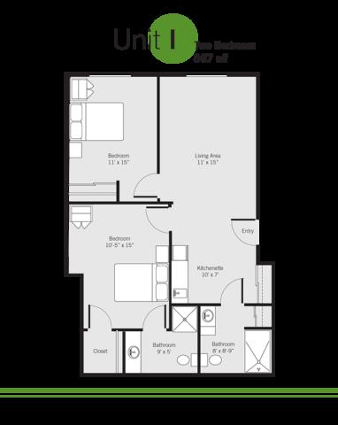 Vashon Community Care assisted living facility floor plan - Unit I