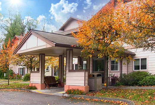 Front entrance of a Vashon Island senior living community